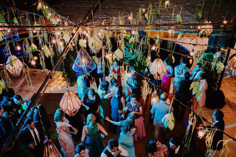 tropical wedding candle ceiling party dance floor