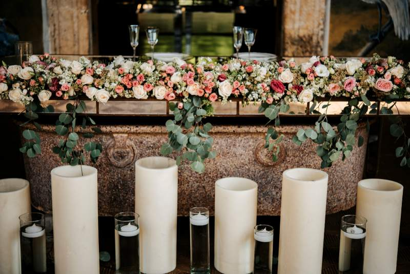 Decoration with flowers and candles