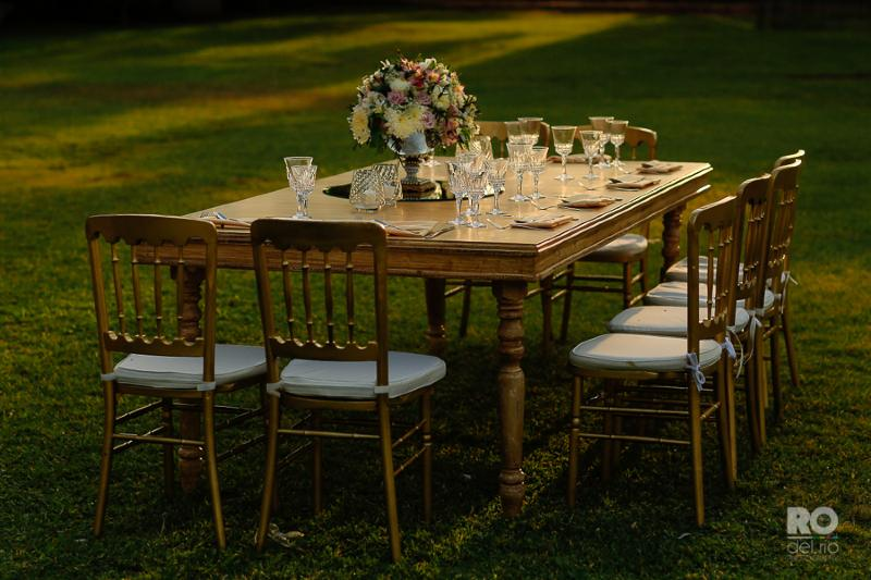 Wooden table for a romantic decor wedding