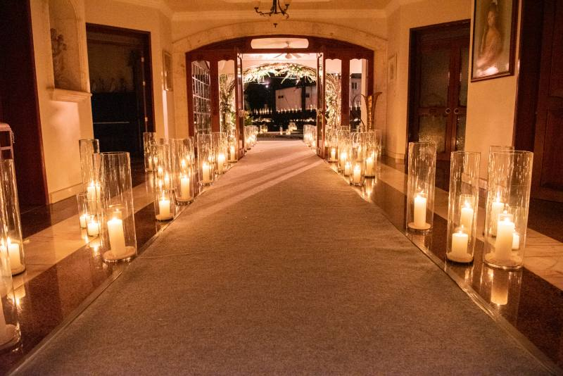 Beautiful decoration with candles for the wedding