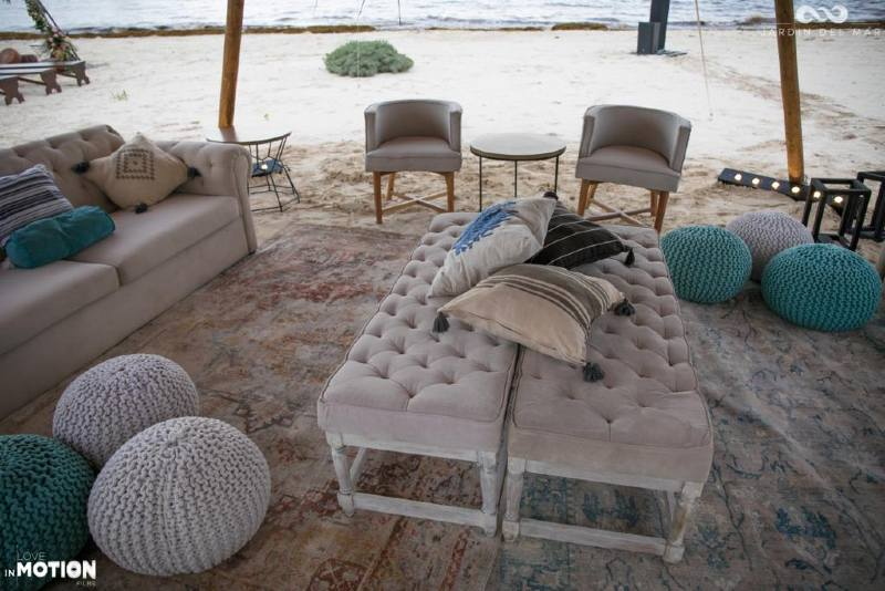 Beautiful wedding furniture on the beach