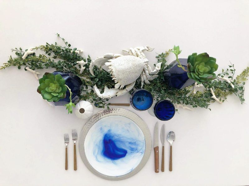 Beautiful tableware in shades of blue