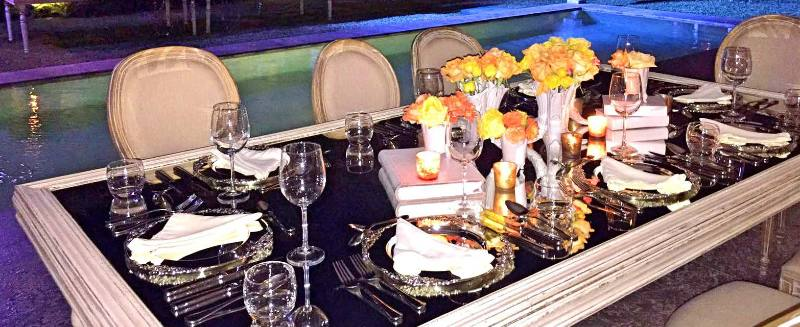 Centerpieces in yellow shades