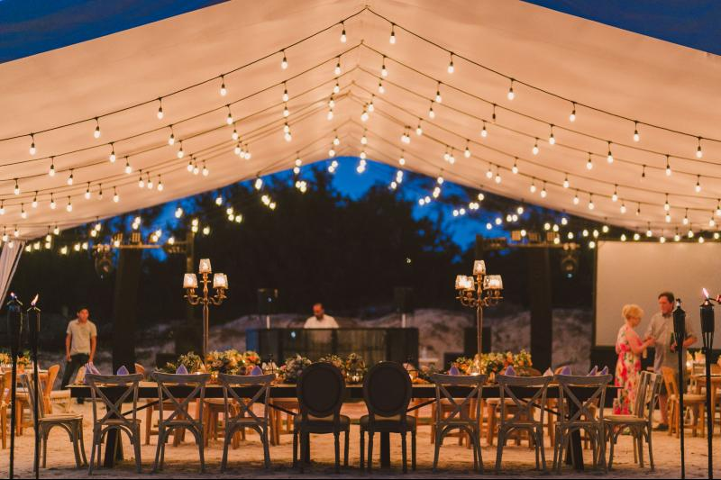 Decoration lights for beach wedding venue