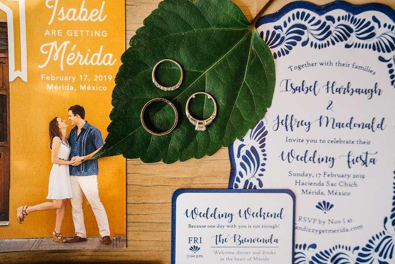 Invitaciones par boda con detalles mexicanos