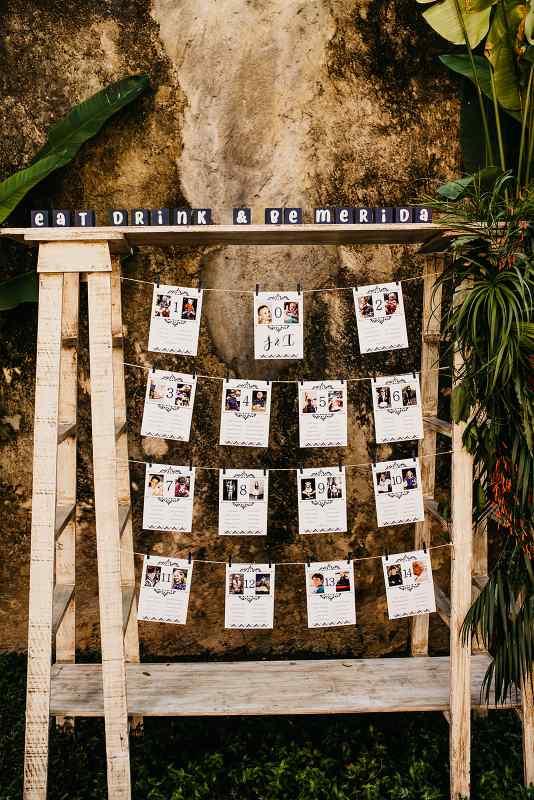 decoración para distribución de invitados boda mexicana