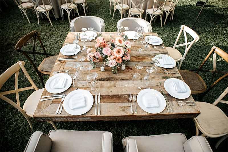 mesa madera boda