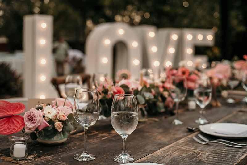 letrero led boda