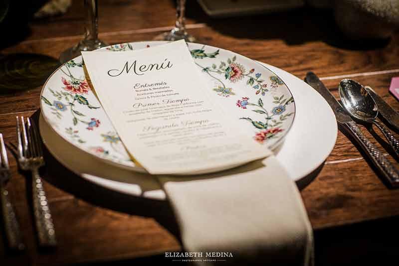vajilla menu vintage boda
