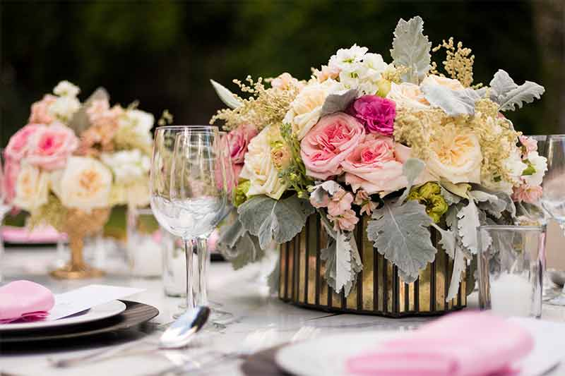 centro de mesa flores vintage