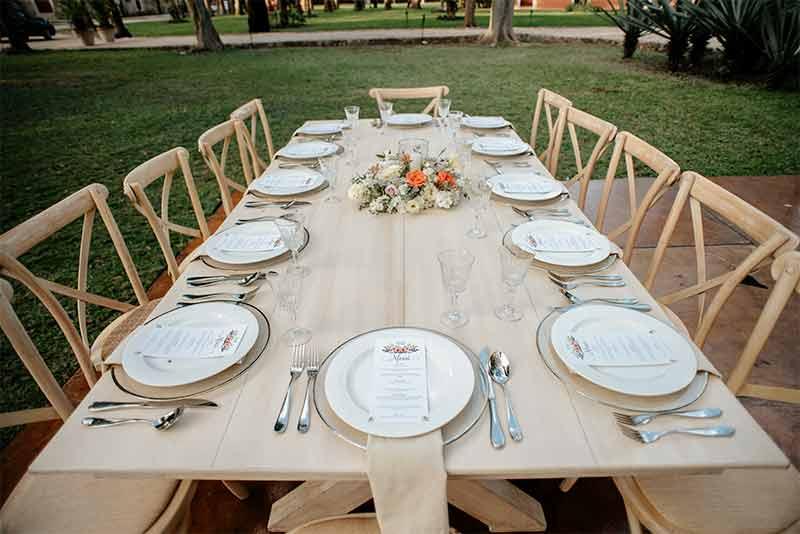 tableware vintage madera boda